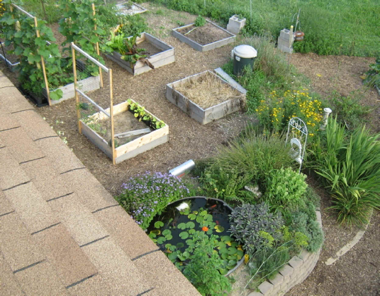 View of square foot garden